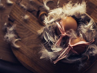 Easter eggs in the nest of feathers.