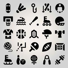 Sport vector icon set. kimono, bowling, fishing and skateboard