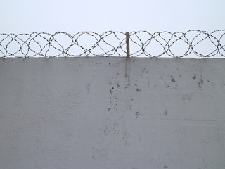 white concrete fence with barbed wire