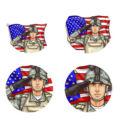 Set of vector pop art round avatar profile icons for users of social networking, blog. American male soldier in uniform helmet bulletproof vest saluting against US flag. Memorial independence day sign