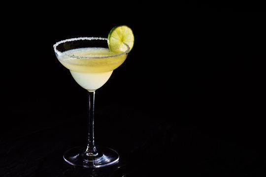 Classic daiquiri on the dark background.  Luxury craft drink concept