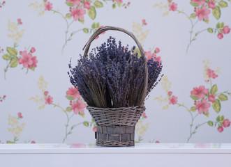 lavender flowers in a wicker basket
