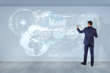 Businessman using graph screens interface on a wall 3D rendering