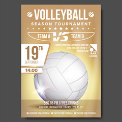 Volleyball Poster Vector. Banner Advertising. Sand Beach. Sport Event Announcement. A4 Size. Game, League Design. Championship Label Illustration