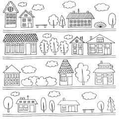 Houses on a street. Black and white illustration.