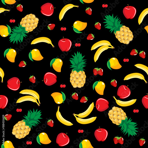 Mango Pineapple Apple Strawberry Banana Cherry Mix Fruits Seamless Pattern On Black Background Available In
