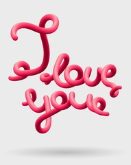 I love you creative pink lettering Glossy blended letters. 3D bubble font.