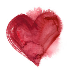 Big red abstract heart with wet blots and splatters painted in watercolor on clean white background