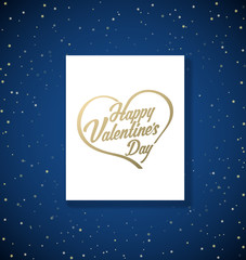 Valentine's background with stars and golden heart with Happy Valentine's Day.