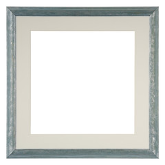 Empty picture frame isolated on white, square format, in a hand painted blue wash finish with matte