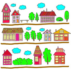 Houses on a street. Illustration of a city landscape with townho