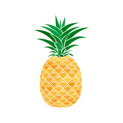 Colorful pineapple icon in a flat style on a white background