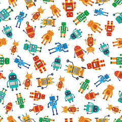 Seamless pattern from colorful robots