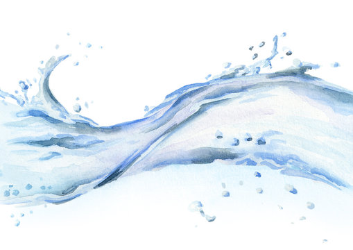 Water wave isolated on white background. Watercolor hand drawn illustration