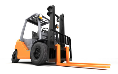 3d rendering massive powerful forklift truck isolated on white background. Left to right direction. Front view. Fish eye