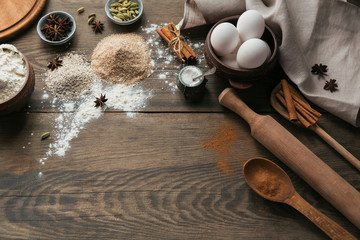 Ingredients for cooking bread or cookies: bran, flour and spices