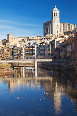 Houses on the Onyar and Cathedral of Girona