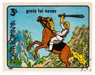 Gruia Novac, frame from cartoon on postage stamp