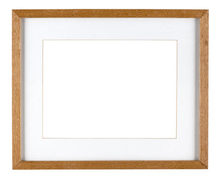 Empty picture frame isolated on white in oak wood