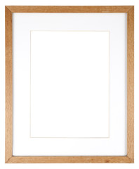 Empty picture frame in a wood grain moulding