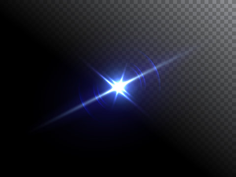 Blue flare isolated on transparent background. Vector illustration.