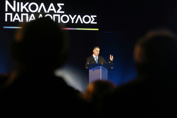 Cypriot Presidential candidate Nikolas Papadopoulos speaks to supporters during a pre-election rally in Nicosia