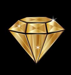Golden diamond isolated vector