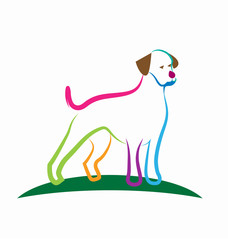 Loyal dog, line art, vector icon