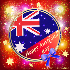 Happy Australia day background. Red Illustration.