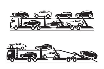 Car transporter trucks - vector illustration
