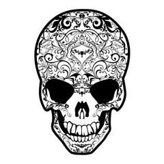 Skull black and white. Vector image of a richly decorated skull.