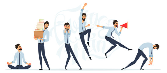 Businessman in different emotions and expressions. Businessperson in casual office look. Different poses for animation
