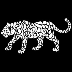 Silhouette of a walking white panther in a tattoo style. Vector illustration