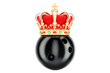 Bowling ball with royal crown winner, 3D rendering