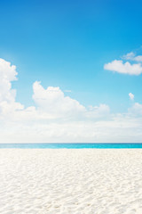 Foto auf Leinwand Tropical strand Empty tropical island sea beach with white sand