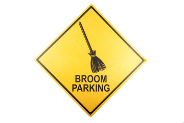 A broom parking sign for Halloween