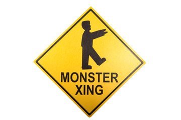 A monster crossing sign for Halloween