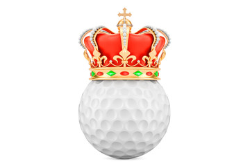 Golf ball with royal crown, 3D rendering