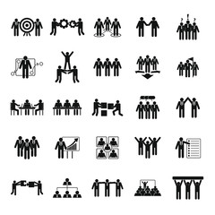 Team building work training icons set. Simple illustration of 25 team building work training vector icons for web