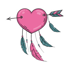 Vector Indian heart with arrow and ornament.