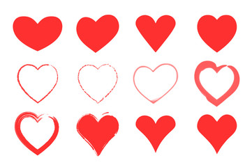 Red hearts set. Valentines day icons. Isolated on white signs. Vector illustration