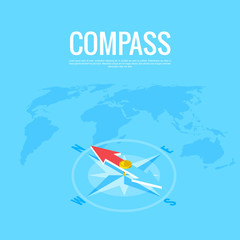 compass on the background of the world map, isometric image