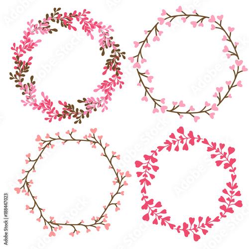 Floral Frames Decoration Vector Decorative Elements In Pink Color