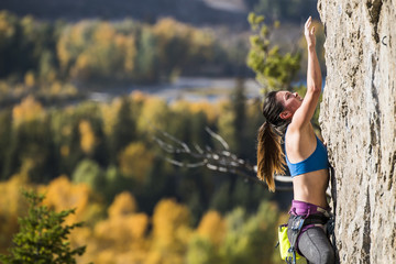 Side view of female climber climbing rock wall against forest trees, Wyoming, USA