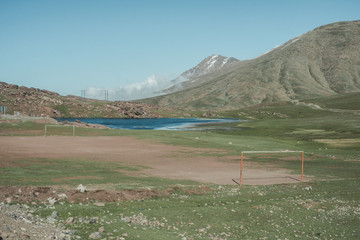 Soccer field in middle of Atlas Mountains, Oukaimeden, Morocco