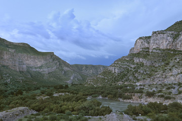View of Nazas River at dusk in area of Canon de Fernandez in Durango, Mexico