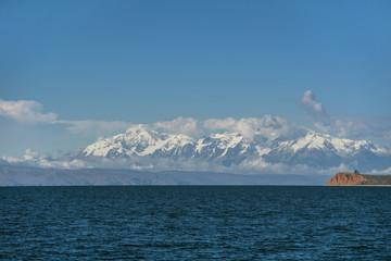 Snowcapped mountains across Titicaca Lake, Isla del Sol, La Paz, Bolivia