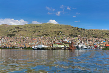 Puno town on Peruvian shore of Titicaca lake, Peru