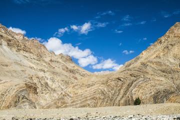 Scenery of mountains seen at Zanskar River trip leaving Kharsha, Ladakh, Jammu and Kashmir, India