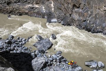 People kayaking in Zanskar River, Ladakh Region, Jammu and Kashmir, India